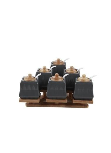 Acar YAM-010889/6 Acar Larin 6'Lı Bambu Standlı Kare Porselen Baharat Takımı Füme Yam-010889/6 Renkli